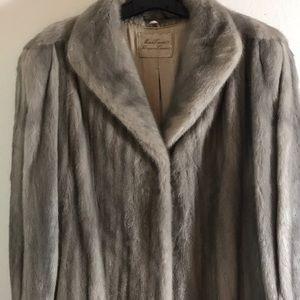Jackets & Blazers - Full length vintage silver fur coat